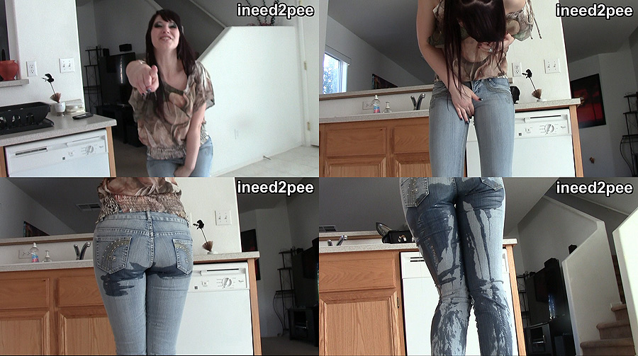 Brookelynne Briar pissing wetting her tight jeans