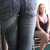 skintight skin tight jeans wetting pee