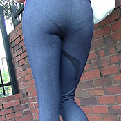 lauren kiley wetting pee yoga pants spandex