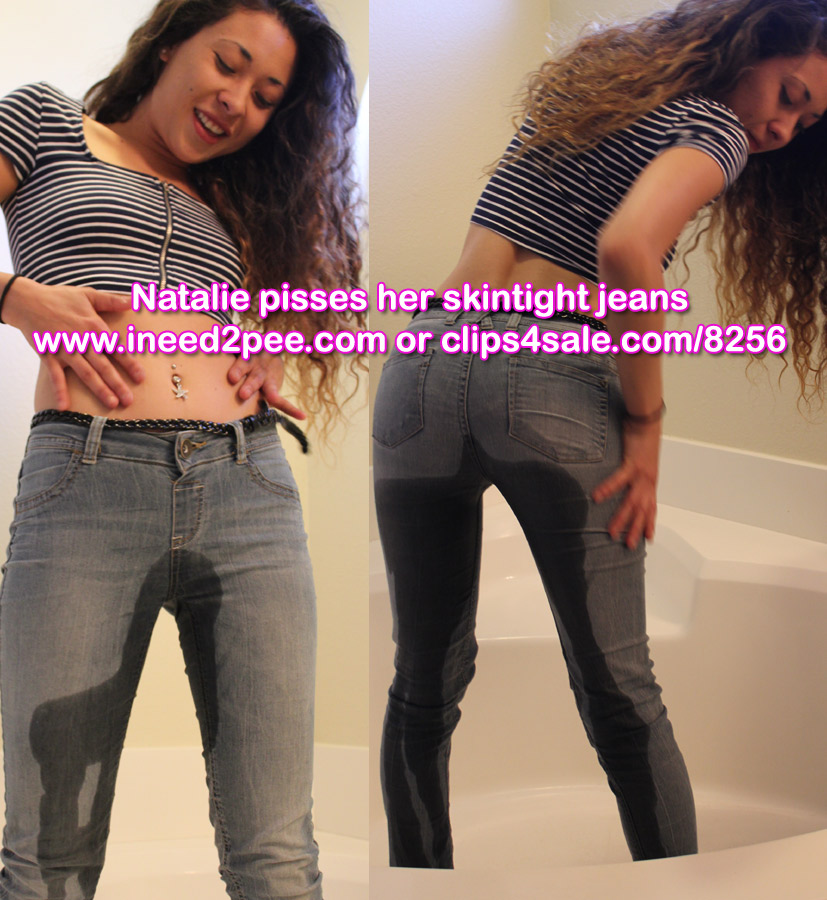natalie asian wetting pee jeans video