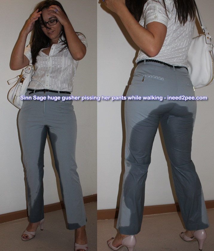 sinn sage peeing wetting her pants jeans