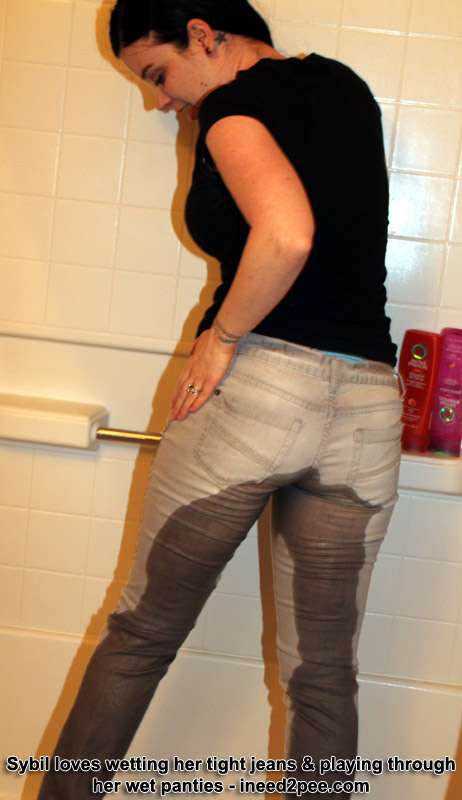 Tight jeans wetting peeing pissing